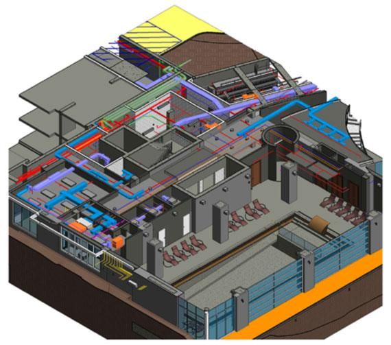 Isometric View of Internal Systems Depicted in BIM