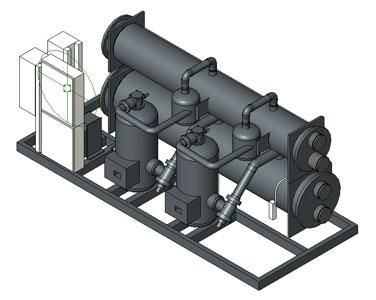 Isometric View of an HVAC Chiller Developed for BIM Use